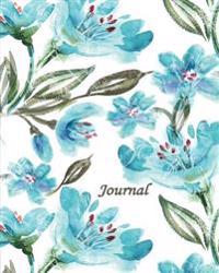Journal: Blue Green Flowers 8x10 - Graph Journal - Journal with Graph Paper Pages, Square Grid Pattern