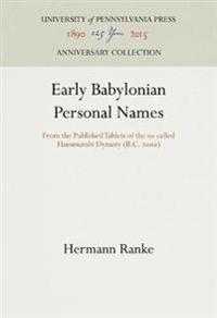 Early Babylonian Personal Names