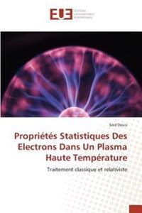Propriétés Statistiques Des Electrons Dans Un Plasma Haute Température