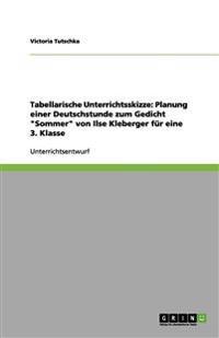 Tabellarische Unterrichtsskizze: Planung Einer Deutschstunde Zum Gedicht Sommer Von Ilse Kleberger Fur Eine 3. Klasse