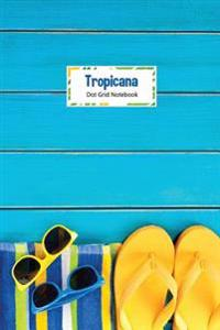 Tropicana Dot Grid Notebook: Compact 6 X 9 Dot Grid Journal Bright Summer Beach Towel, Strarfish and Slippers Design