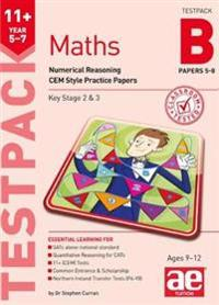 11+ maths year 5-7 testpack b papers 5-8 - numerical reasoning cem style pr