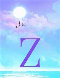 Z: Monogram Initial Z Notebook for Women, Teens and Girls - See Your Initials in the Clouds Paradise Purple Sky - 8.5 X 1
