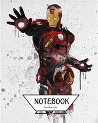 "Notebook Journal Graph, Line, Blank No Lined: Watercolor Iron Man: Pocket Notebook Journal Diary, 120 Pages, 8"" X 10"" (Notebook Journal)"