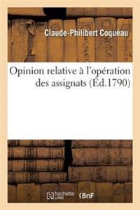 Opinion Relative A L'Operation Des Assignats