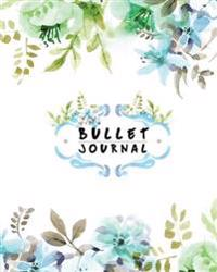 "Bullet Journal: Green Watercolor Flower - 8""x10"" and 150 Pages for Planning, Drawing, Sketch - Dot Grid Journal: Bullet Journal"