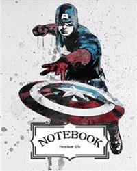 Notebook: Watercolor Captian America: Pocket Notebook Journal Diary, 120 Pages, 8 X 10 (Notebook Lined, Blank No Lined)