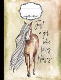 Just a Girl Who Loves Horses Composition Notebook: Composition Notebook, 4x4 Quad Rule Graph Paper for School / Work / Journaling