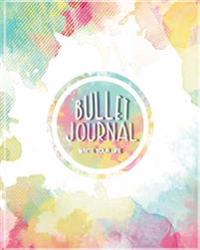 Bullet Journal Dot Grid for 90 Days, Numbered Pages Quarterly Journal Diary, Art Splash Colorful Watercolor Sweet Pastel: Large Bullet Journal 8x10 wi