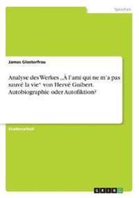 """Analyse des Werkes ,,À l'ami qui ne m'a pas sauvé la vie"""" von Hervé Guibert. Autobiographie oder Autofiktion?"""