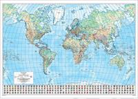 Maailma seinäkartta, 1:30 milj. (135x96 cm)