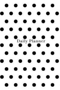 Daily Planner - Black Polka Dot Cover: (6x9) Daily Planner, 90 Pages, Smooth Matte Cover