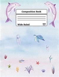 Watercolor Under the Sea Composition Book, Wide Ruled