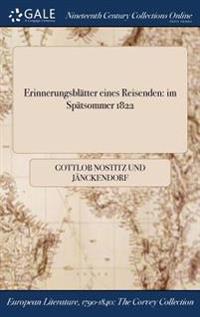 Erinnerungsblatter Eines Reisenden: Im Spatsommer 1822