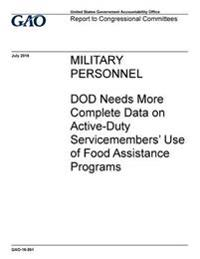 Military Personnel, Dod Needs More Complete Data on Active-Duty Servicemembers' Use of Food Assistance Programs: Report to Congressional Committees.