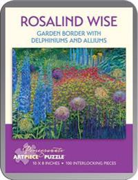 Rosalind Wise Garden Border with Delphiniums and Alliums 100-Piece Jigsaw Puzzle