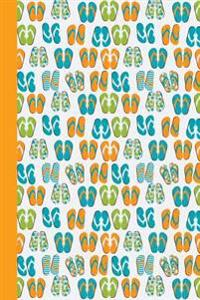 Sketch Journal: Flip Flops (Orange) 6x9 - Pages Are Lined on the Bottom Third with Blank Space on Top