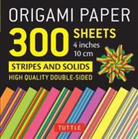 Origami Paper - Stripes and Solids - 4 Inch