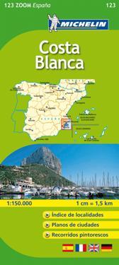 Costa Blanca Michelin 123 delkarta Spanien : 1:130000