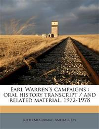 Earl Warren's campaigns : oral history transcript / and related material, 1972-197, Volume 03
