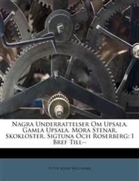 Nagra Underrattelser Om Upsala, Gamla Upsala, Mora Stenar, Skokloster, Sigtuna Och Roserberg: I Bref Till--