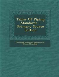Tables Of Piping Standards