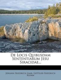 De Locis Quibusdam Sententiarum Jesu Siracidae...