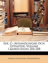 Ser. C--Avhandlingar Och Uppsatser, Volume 1,issues 204-208