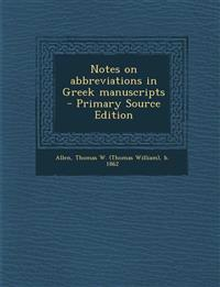 Notes on abbreviations in Greek manuscripts
