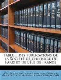 Table ... des publications de la Société de l'histoire de Paris et de l'Île de France Volume 1894-1903