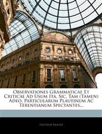 Observationes Grammaticae Et Criticae Ad Usum Ita, Sic, Tam (Tamen) Adeo, Particularum Plautinum Ac Terentianum Spectantes...