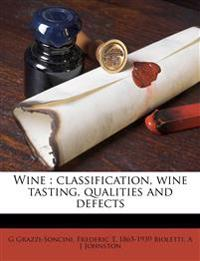 Wine : classification, wine tasting, qualities and defects