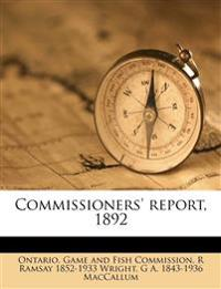 Commissioners' report, 1892