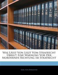 Was Lässt Von Liszt Vom Strafrecht Übrig?: Eine Warnung Vor Der Mordernen Richtung Im Strafrecht