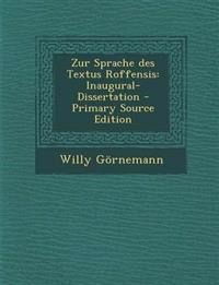 Zur Sprache des Textus Roffensis: Inaugural-Dissertation