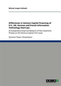 Venture Capital Financing of U.S., UK, German and French It Start-Ups