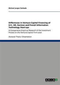Venture Capital Financing of U.S., UK, German and French It Start-Ups