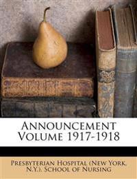 Announcement Volume 1917-1918