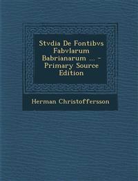 Stvdia De Fontibvs Fabvlarum Babrianarum ...