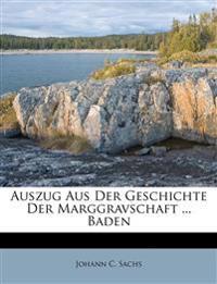 Auszug Aus Der Geschichte Der Marggravschaft ... Baden