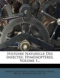 Histoire Naturelle Des Insectes: Hyménoptères, Volume 1...