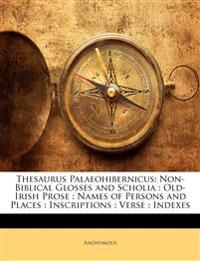 Thesaurus Palaeohibernicus: Non-Biblical Glosses and Scholia : Old-Irish Prose : Names of Persons and Places : Inscriptions : Verse : Indexes