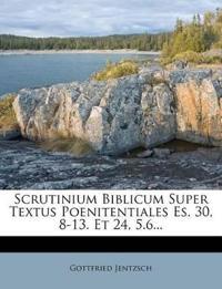 Scrutinium Biblicum Super Textus Poenitentiales Es. 30, 8-13. Et 24, 5.6...