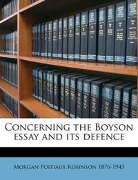 Concerning the Boyson essay and its defence