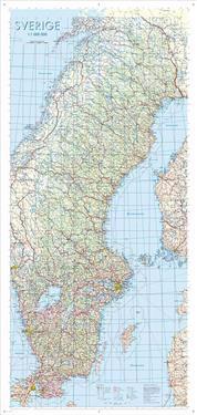 Sverige Väggkarta 1:1milj Miljö Tub