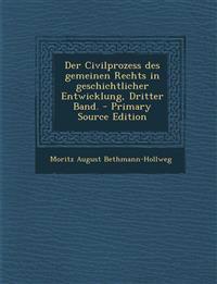 Der Civilprozess Des Gemeinen Rechts in Geschichtlicher Entwicklung, Dritter Band. - Primary Source Edition