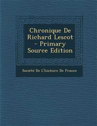 Chronique de Richard Lescot