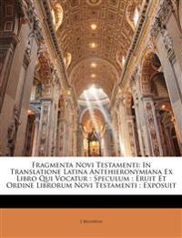 Fragmenta Novi Testamenti: In Translatione Latina Antehieronymiana Ex Libro Qui Vocatur : Speculum : Eruit Et Ordine Librorum Novi Testamenti : Exposu