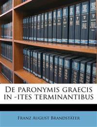 De paronymis graecis in -ites terminantibus