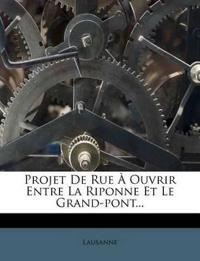 Projet De Rue À Ouvrir Entre La Riponne Et Le Grand-pont...